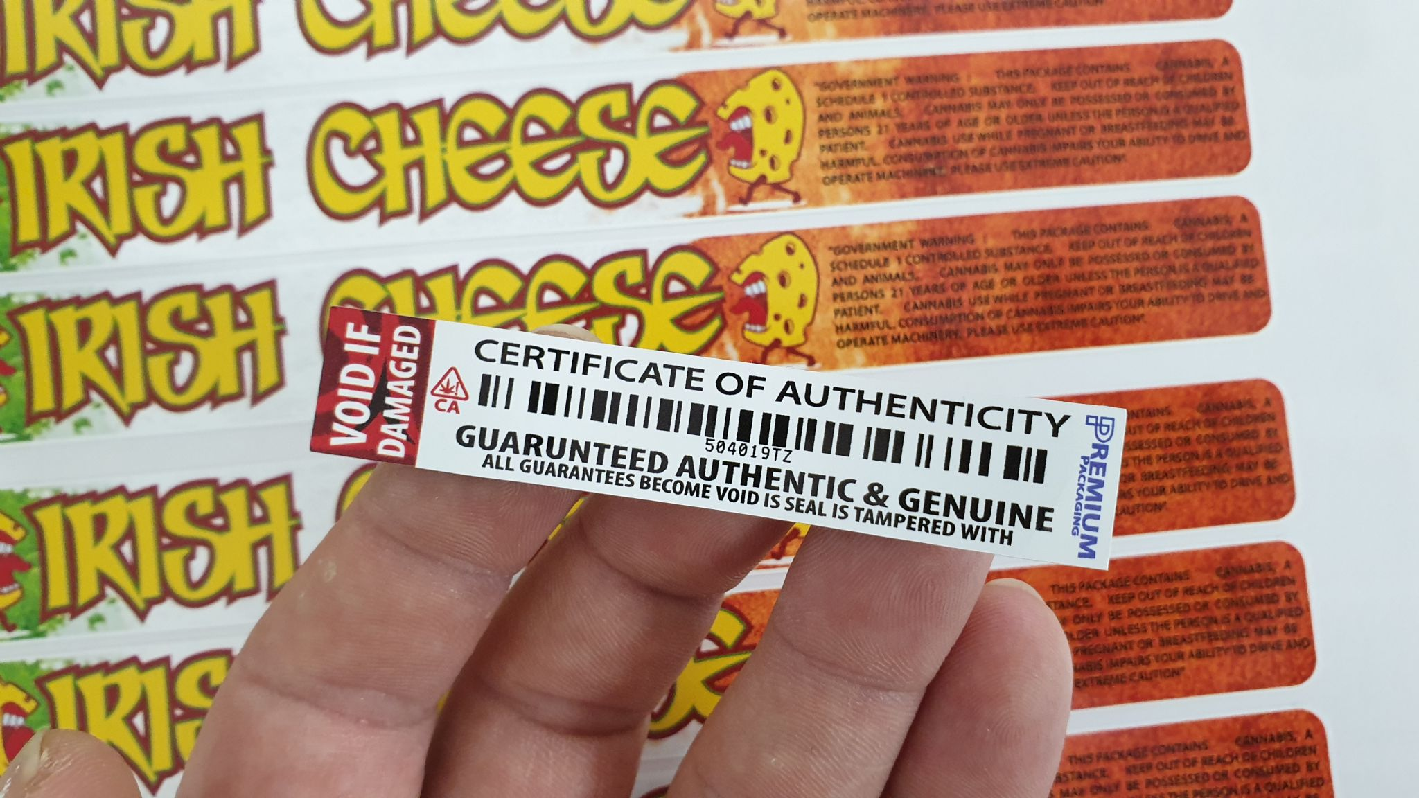 GUARANTEED AUTHENTIC VOID LABELS suitable for cali glass jar